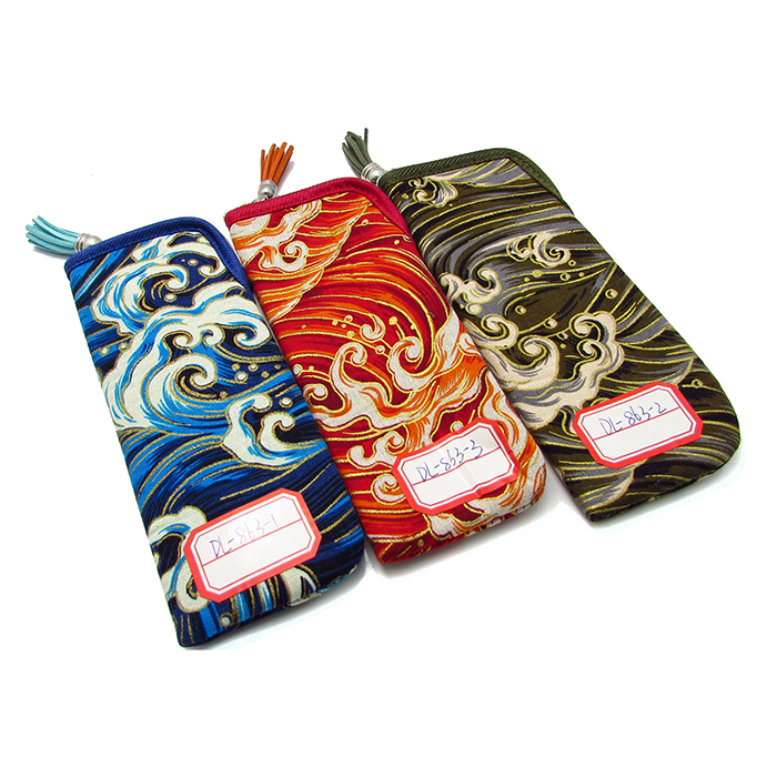 Chinese style cloth glasses bag with zipper