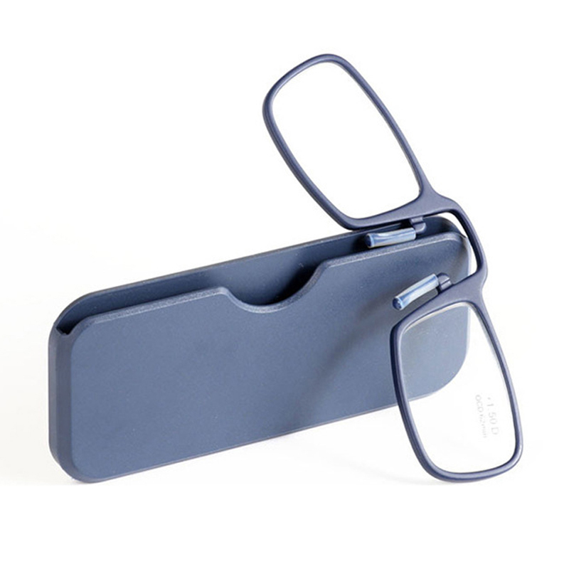 Nose clip pince nez pockets reading glasses with case