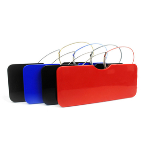 Metal nose clip reading glasses with case