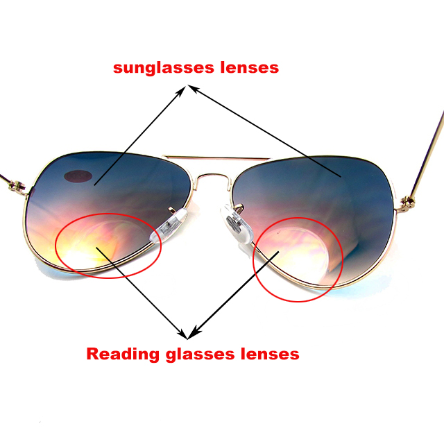 Metal bifocal readers sunglasses