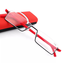 Metal harf-frame reading glasses with case