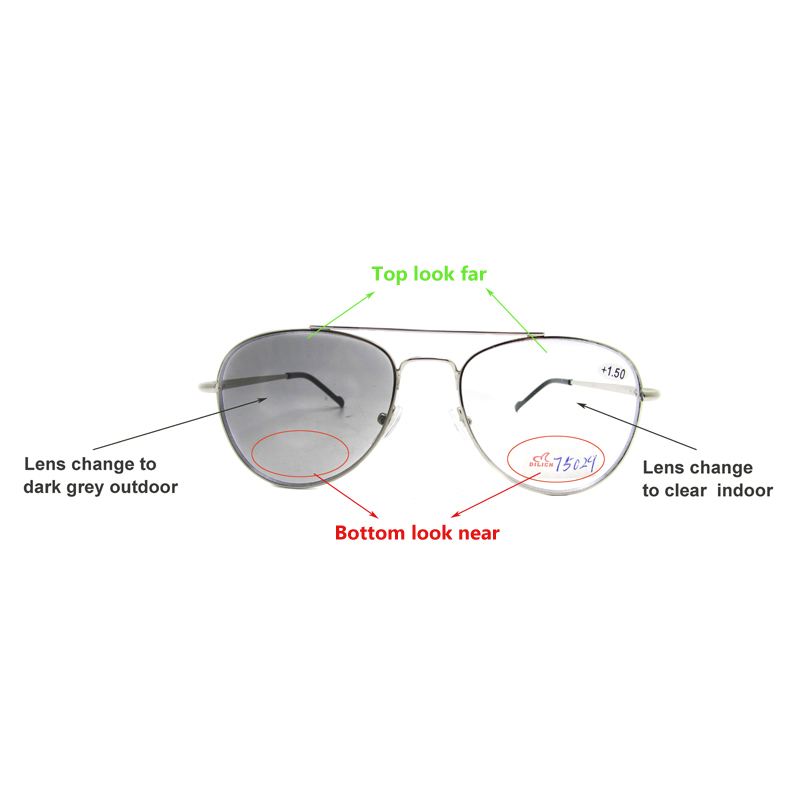 Bifocal photochromic reading glasses transition readers