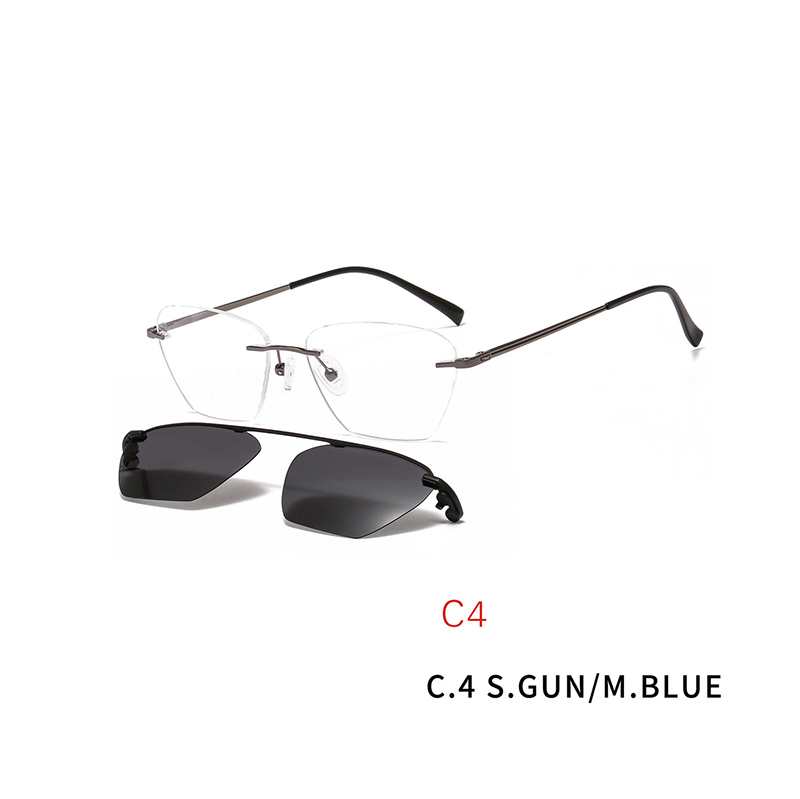 2 In 1 Fashion Optical Glasses Magnet Clip On Sunglasses Rimless Prescription Glasses Frame for Myopia Lenses