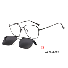 Square Magnetic Sunglasses Clip on for Men Women Metal Frame