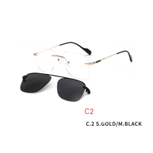 2 In 1 2020 Frameless Optical Frame Rimless Magnet Clip on Sunglasses Men Driving Detachable Lens Style Sun Glasses