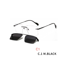 2 In 1 Optical Frame Rimless Magnet Clip on Sunglasses Men Driving Detachable Lens Style Sun Glasses