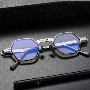Folding Ultra Unisex Reader Metal Eyeglasses Anti Blue Light Polygon Reading Glasses