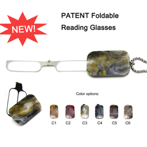 Mens Necklace Shape Foldable Reading Glasses with Chain