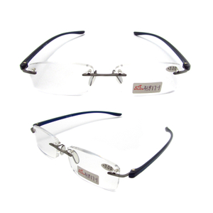 Rimless TR90 temple slim reading glasses for men