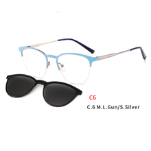 2 In 1 Magnet Clip On Sunglasses Women Metal Shades Sun Glasses Optical Myopia Eyeglasses Frame