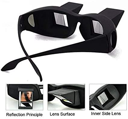 Unisex Reader Prism Glasses High Definition Lying Down Eyeglasses for Reading and Watch TV in Bed Lazy Reading Glasses