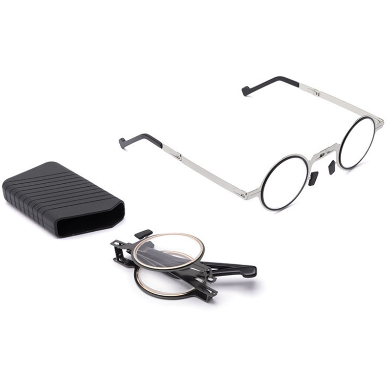 Blocking Reader Anti Blue Light Round Reading Glasses Foldable Ultra Thin Unisex Metal Eyeglasses