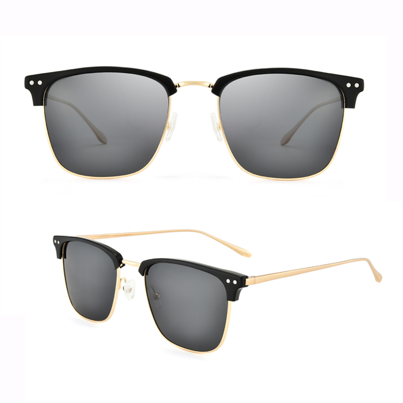 Square Oversized Sunglasses Vintage Men Women Shades Half Frame Square Sun Glasses