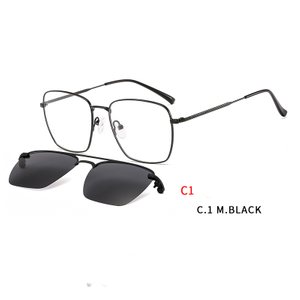 2 In1 Square Eyeglasses Frame Magnet Clip-On Sunglasses Men